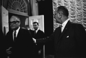 Senator Barry Goldwater with President Lyndon B Johnson in January 1964. (By Yoichi Okamoto [Public domain], via Wikimedia Commons)