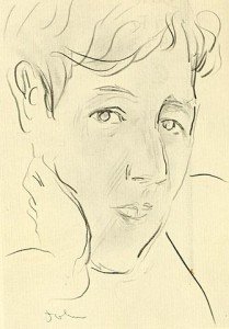 Drawing of Ronald Firbank by Augustus John