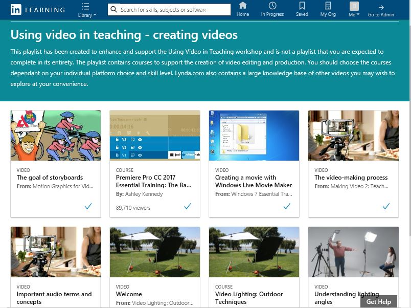 Example of a collection in LinkedIn Learning