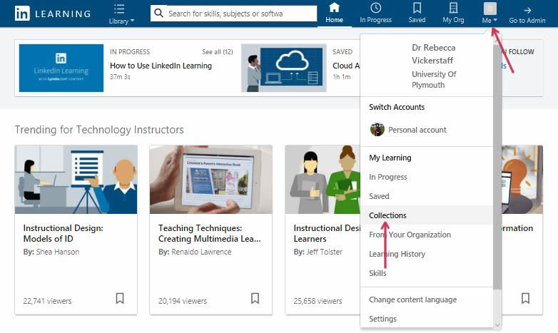 Finding collections in LinkedIn Learning