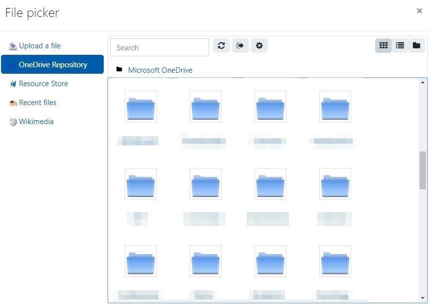 OneDrive folder view in Moodle