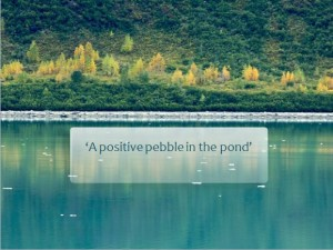 'A positive pebble in the pond'