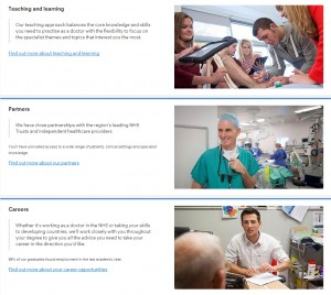 Using feature panels to showcase BMBS Bachelor of Medicine, Bachelor of Surgery.