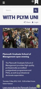 Thinking mobile first - Plymouth University website viewed on a smart phone