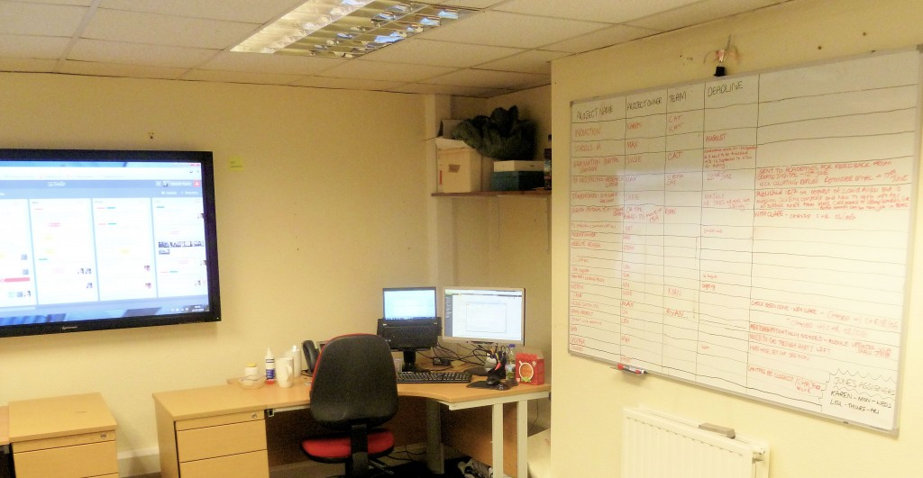 Our project room, complete with big screen and project boards