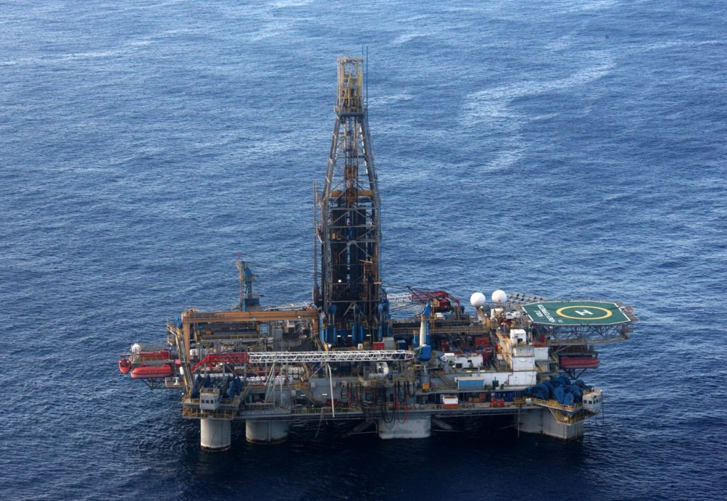 epa03010742 epa03010733 An aerial view from a helicopter of the Homer Ferrington rig operated by Noble Energy in the east Mediterranean, drilling in an offshore block on concession from the Cypriot government, 21 November 2011. Houston-based Noble started drilling for gas off Cyprus in September, in the island's first attempt to tap speculated offshore hydrocarbons deposits. Cypriot President Demetris Christofias visited the rig, which started drilling for gas on 21 November.  EPA/STR  EPA/STR