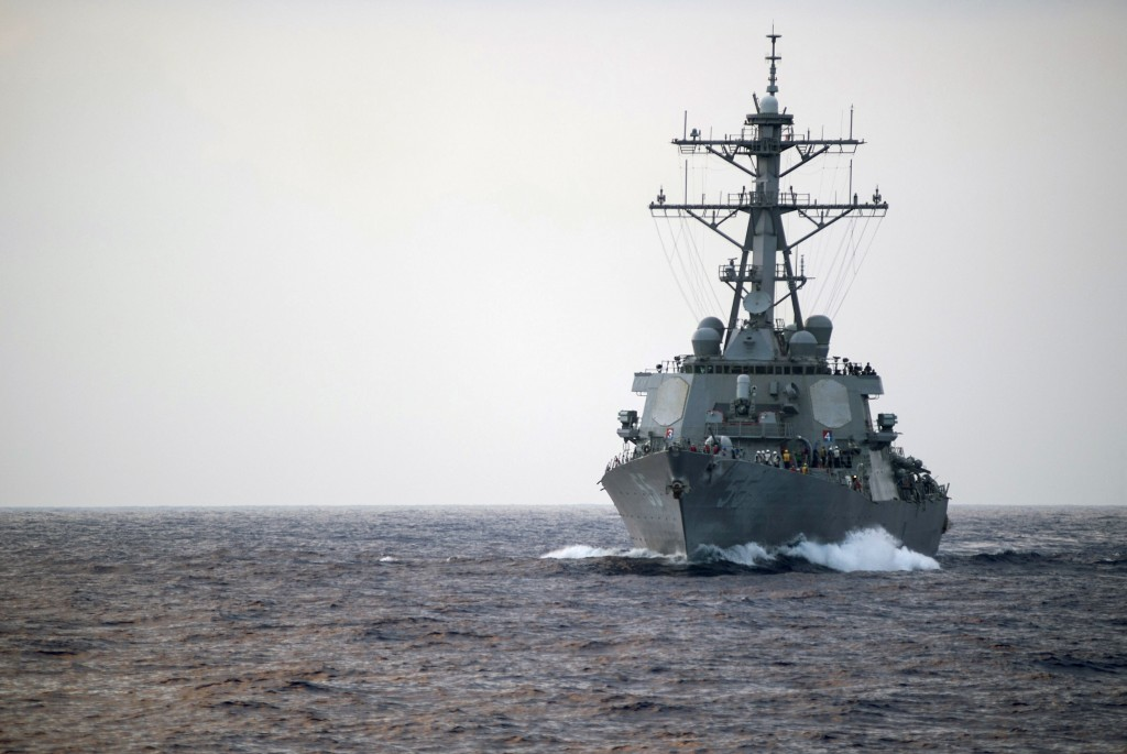 The Arleigh Burke-class guided-missile destroyer USS Stout (DDG 55) transits the Mediterranean Sea. Stout is on a scheduled deployment supporting U.S. 6th Fleet operations. (U.S. Navy photo by Mass Communication Specialist 1st Class Christopher B. Stoltz/Released)