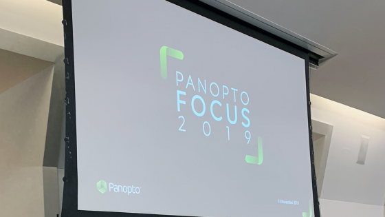Panopto Focus 2019 being projected on a screen