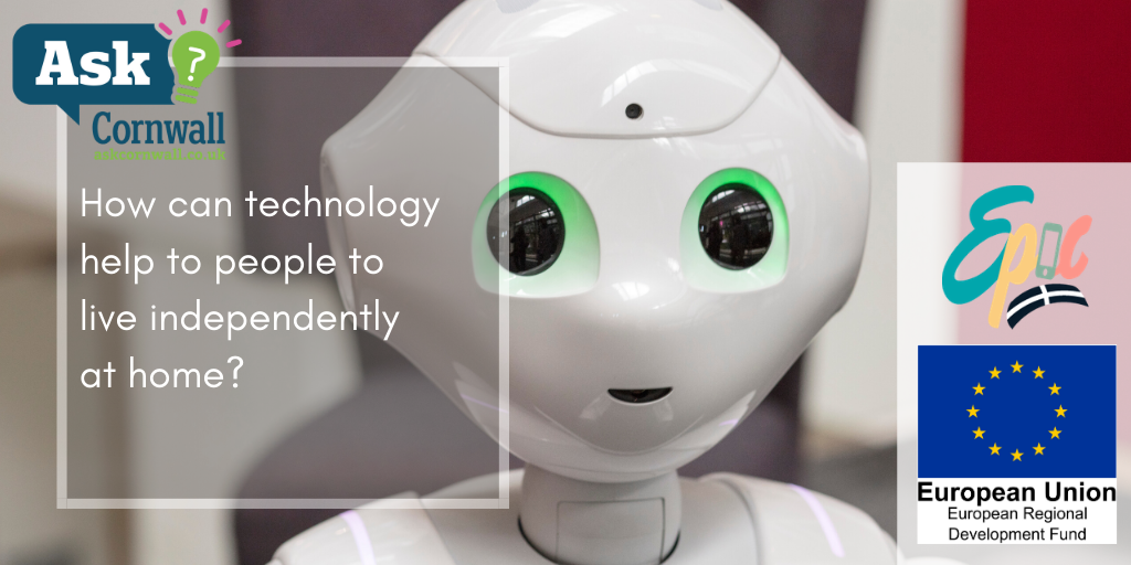A picture of pepper the humanoid robot, and the blog title overlaid. The logos for ask cornwall, epic and erdf are included.