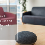 A picture of a google style smart speaker on a coffee table, with two sofas in the background. The title of the blog appears, alongside logos for ask cornwall, epic and erdf
