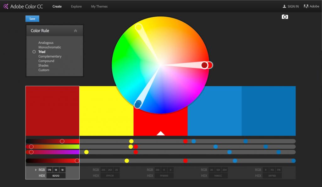 Adobe Color CC screenshot