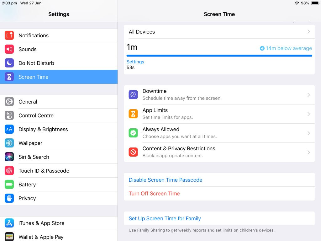 Screen Time Settings in the Settings app